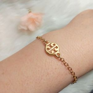 Tory Burch Logo Charm Gold Plated Bracelet New